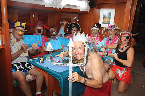 Equator crossing nparty with King Neptune and Grace O'Malley, the Viking pirate queen