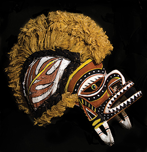 A ceremonial Malagan mask from New Ireland bought by author at Nusa Island Retreat