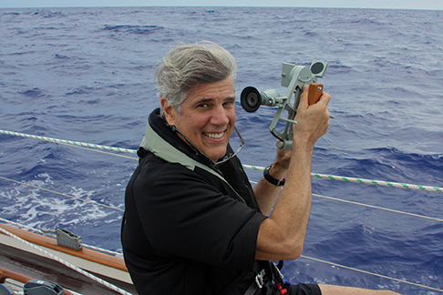 The author practicing noon sight navigation