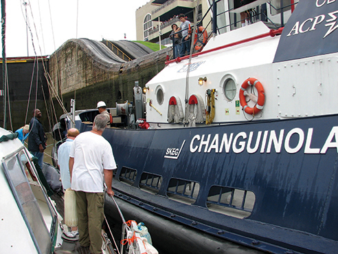 Side tying to the canal tug Changuinola