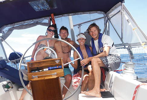 Team SoPac Crossing - Katy, Ben, Sarah, Will. Adjusting to life at sea.