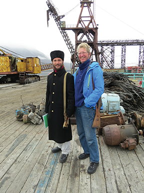 Haakon (on the right) and the Russian guard at the Russian settlement, Pyramiden