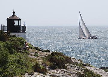 Transatlantic start, Moondance off Castle Hill, Narragannsett Bay, RI