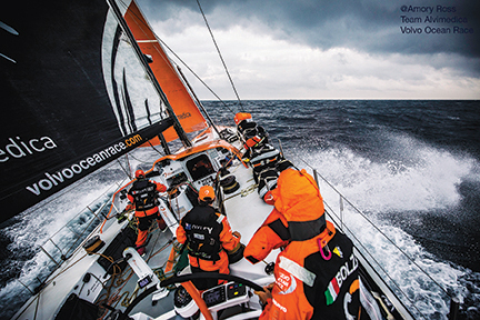 June 10, 2015. Leg 8 to Lorient onboard Team Alvimedica.  An ominous line of clouds passes overhead while transiting the rough Bay of Biscay. A difficult crossing of the Bay of Biscal sees 25-35 knots of wind in a big seaway, but the bulk of the fleet remains in sight after a short split overnight.