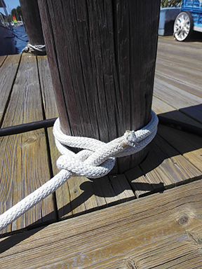 Clove Hitch with Half Hitch for extra measure