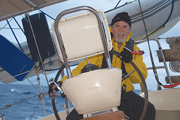Helmsman Fred Lipp, happy with the progress we are making