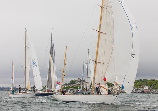 Dorade, at 85 years young, leading the fleet into the Atlantic Transatlantic Race 2015