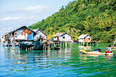 sea gipsy community house on an island