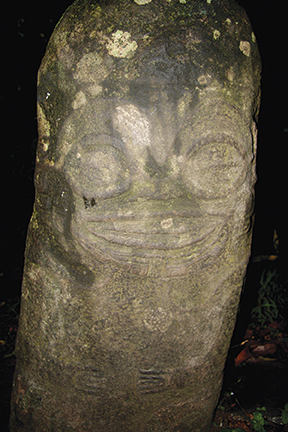 The smiling Tiki on Hiva Oa