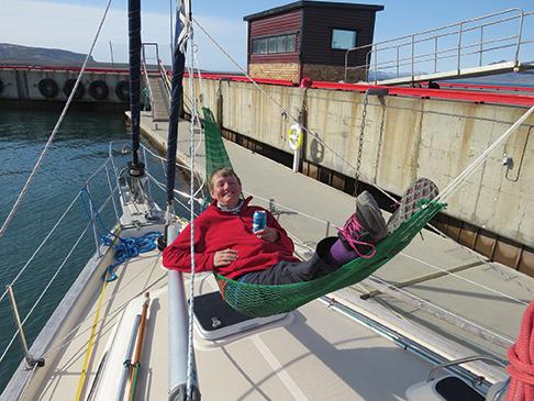 Judith enjoying sunshine in Ny Alesund