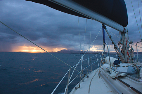 Namani races the setting sun to to Coffs Harbour in the second brief overnight stop of the 500 mile passage