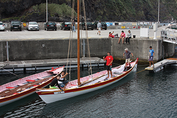 Azorean sailing whaling boat preparing for an afternoon sail